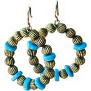 Natural Brass & Campitos Turquoise Circle Earrings