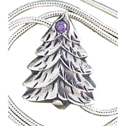 Fine Silver Christmas Tree with Cubic Zirconia Necklace