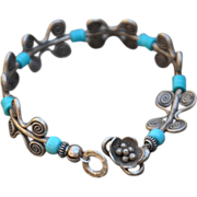 Sterling Thai Silver Bracelet with Sleeping Beauty Turquoise