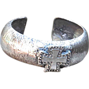 Pure Silver .975 Handmade Thick Cross Bangle