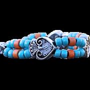 Sacred Heart Ceramic Bead Bracelet