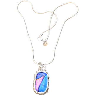 Fused Glass set in Fine Silver Pendant Necklace