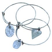 Contemporary Silver Plated Bangles with Sterling Charms