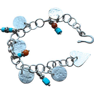 Natural Sleeping Beauty Turquoise and Silver Coin Charm Bracelet
