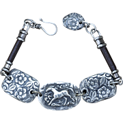 Fine Silver Concho Bracelet with Horse