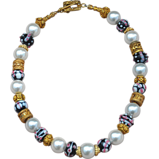 Handmade Lampwork Beads, 24k Gold Vermeil, & Shell Pearl Necklace