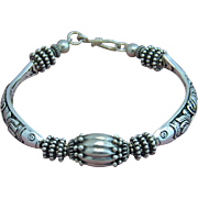 Sterling Thai Fish Bead and Bali Silver Bracelet