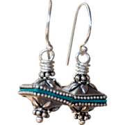 Bali Silver Earrings with Hand-Patina Accent