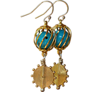 Turquoise in a Golden Cage Earrings