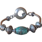 Hubei Turquoise & Bali Sterling Bracelet