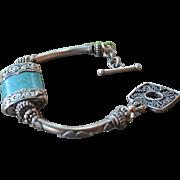 Nepalese Repousse & Turquoise Pendant Bracelet