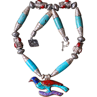 Nepalese Repousse Necklace with Big Bird Pendant