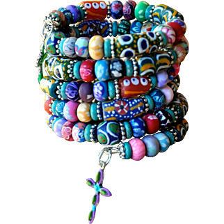 Shabby Chic Wrap your Wrist Around this: Krobo Bracelet