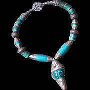 Conch Pendant Repousse Necklace