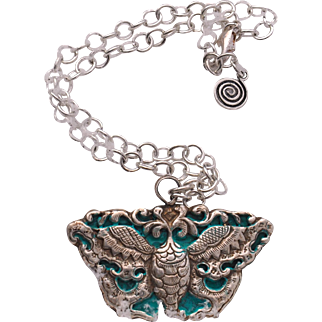 """Nepalese Repousse Butterfly """"dragon"""" Pendant"""