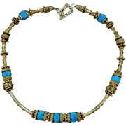 24K Gold Vermeil & Bisbee Turquoise Necklace