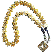 24K Gold Fired Over Copper Flower Beads Necklace