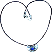 Original Fine Silver with Lapis Pendant on Leather