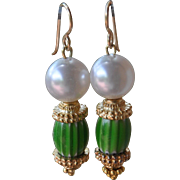 Green Chevron Bead & Pearl Earrings