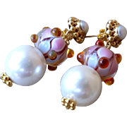 Lampwork & Pearl Earrings