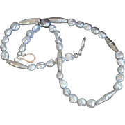 Hand-crafted fine silver beads and pearl necklace