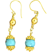 24K Gold Vermeil & Turquoise Earrings