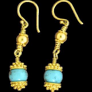 24K Gold Vermeil & Turquoise Earrings