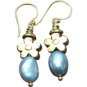 24K Gold Fired Over Copper Flower & Pearl Earrings
