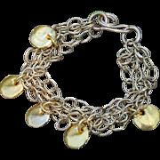 24K Gold Fired Over Copper Coin bracelet on 14K Gold-Filled Chain