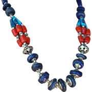 Contemporary Style Nepalese Necklace: Lapis, Coral, Turquoise