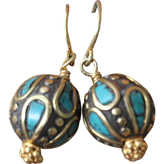 Spirit of the Earth Nepalese Style Turquoise & Brass Earrings
