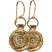 24K Gold over Copper Embossed Coin Earrings