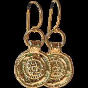 24K Gold Vermeil over Copper Embossed Coin Earrings