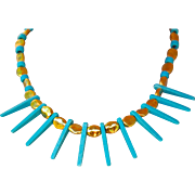 Athena 24K Gold Fired Over Copper Spike Necklace