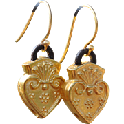 Sacred Heart Gold over Copper Earrings