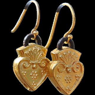 Sacred Heart Gold over Copper Earrings