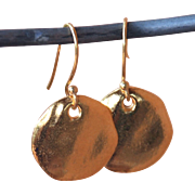 Gold Fired Over Copper Coin Earrings