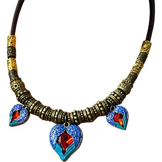 Three Hearts Necklace on Greek Leather