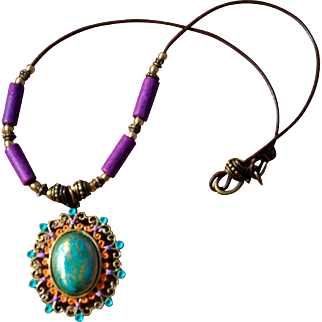 Shabby Chic Pendant on Greek Leather Necklace