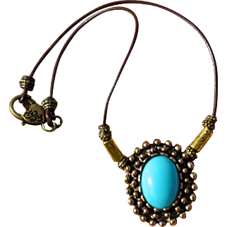 Antiqued Brass Pendant with German Glass Necklace