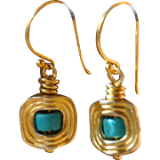 24K Gold over Copper with Ceramic Blue earrings