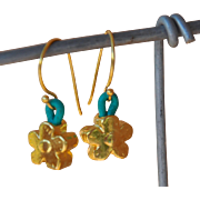 24K Gold over Copper Flower earrings