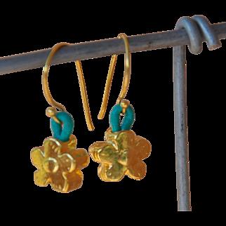 24K Gold over Copper Flower earrings