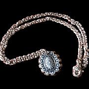 Fine Silver Concho Pendant Necklace