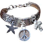 Charmed Silver Plate Spoon Bracelet with Hand-Crafted Silver Charms
