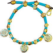 24K Gold over Copper & Forget-Me-Not beaded necklace