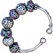 Hand-crafted Lampwork & Nepalese Repousse Bracelet