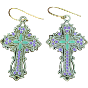 Fancy Chimayo Cross Earrings