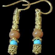 Peach Aventurine & Sleeping Beauty Turquoise earrings