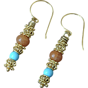 Gold Vermeil & Natural Turquoise Earrings